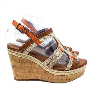 Lucky Brand Keena Snakeskin Cork Wedge Sandals 6M